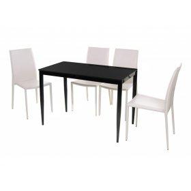 Комплект стол T-300-11 черный + 4 стула NC-500 молочный