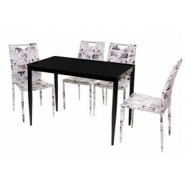 Комплект стол T-300-11 черный + 4 стула NC-505 принт