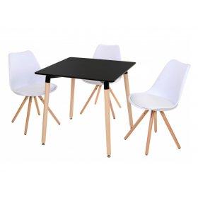 Комплект стол TM-30 черный + 3 стула M-02 белый
