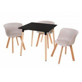 Комплект стол TM-30 черный + 3 стула M-08 капучино