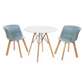 Комплект стол TM-35 белый + 2 стула M-08 небесно-голубой