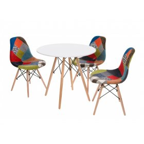 Комплект стол TM-35 белый + 3 стула M-01 patchwork