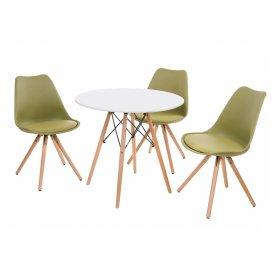Комплект стол TM-35 белый + 3 стула M-02 оливка