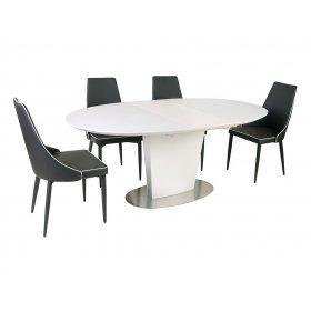 Комплект стол TM-510 белый + 4 стула M-03-1 коричневый