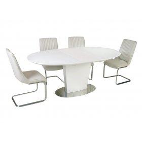 Комплект стол TM-510 белый + 4 стула S-208 кремовый