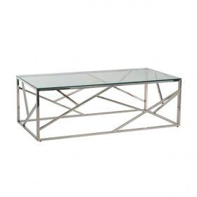 Стол CF-1 прозрачный + серебро
