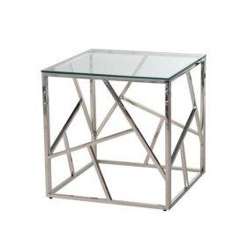 Стол CF-2 прозрачный + серебро