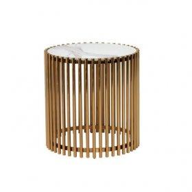 Стол CJ-1 белый мрамор + золото
