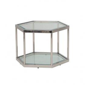 Стол CK-3 прозрачный + серебро