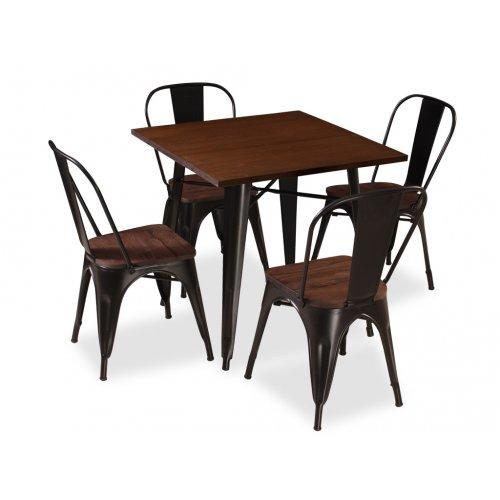 Обеденный стол T-18 черный металл/дерево