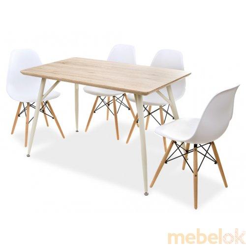 Комплект стол TM-43 дуб сонома + 4 стула Eams Chair M-05 белый
