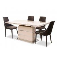 Комплект стол TM-45 молочный + 4 стула M-03-1 коричневый