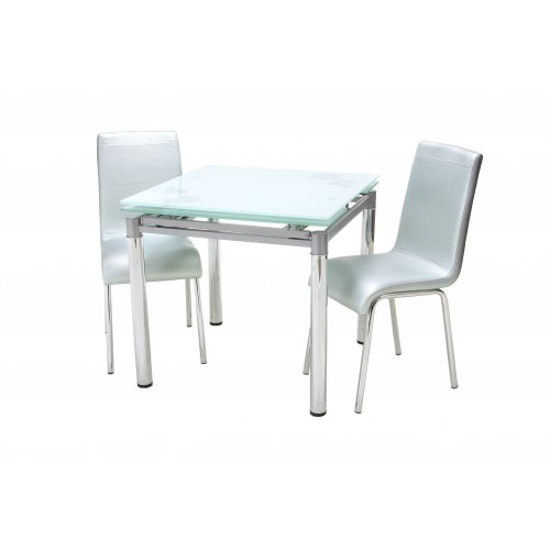 Комплект стол T-222 белый + 2 стула N-16 серебряный