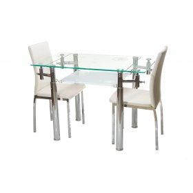 Комплект стол T-225 снежно-белый + 2 стула N-55 молочный