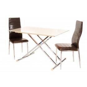 Комплект стол T-227 кремовый + 2 стула N-66 блестящий коричневый