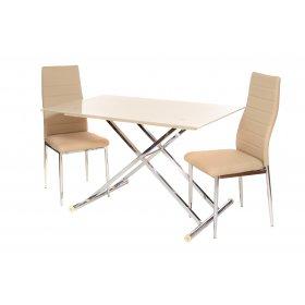 Комплект стол T-227 кремовый + 2 стула N-66 бежевый