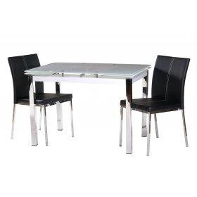 Комплект стол T-231-3 снежно-белый + 2 стула N-10 черный белая строчка