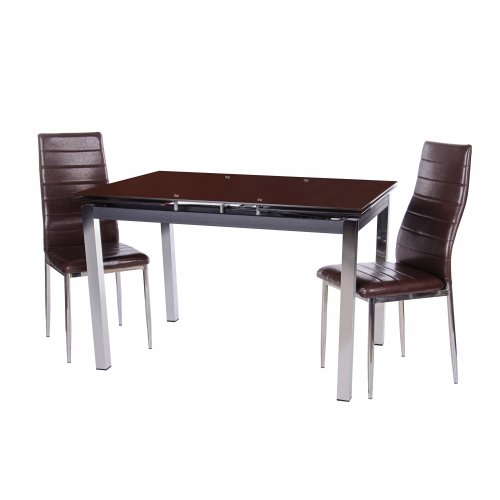 Комплект стол T-231-5 коричневый + 2 стула N-66 блестящий коричневый