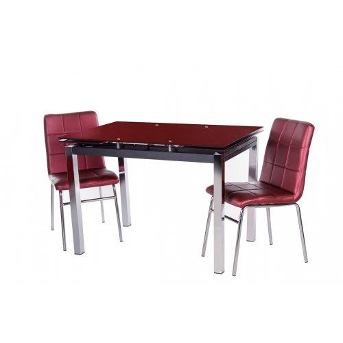 Комплект стол T-231-2 блестящая спелая вишня + 2 стула N-40 пурпурный