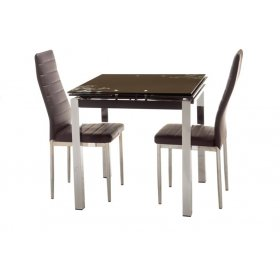 Комплект стол T-236-2 шоколад + 2 стула N-66 коричневый