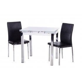 Комплект стол T-239 снежно-белый + 2 стула N-55 блестящий черный