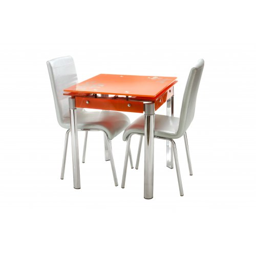 Комплект стол T-255 оранжевый + 2 стула N-16 серебряный