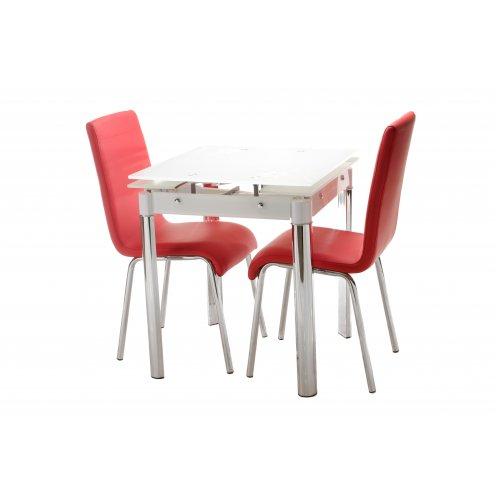 Комплект стол T-255 снежно белый + 2 стула N-16 красный