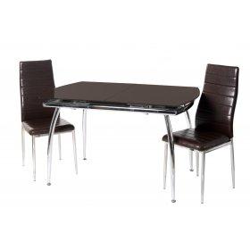 Комплект стол T-272 темно-коричневый + 2 стула N-66 блестящий коричневый