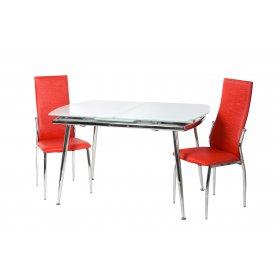 Комплект стол T-272 снежно-белый + 2 стула N-20 красная волна