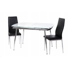 Комплект стол T-272 снежно-белый + 2 стула N-66 блестящая черная полоска