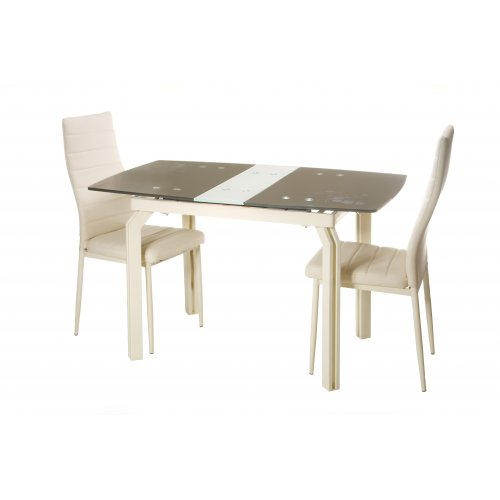 Комплект стол T-273 шоколад+крем + 2 стула N-66 молочный