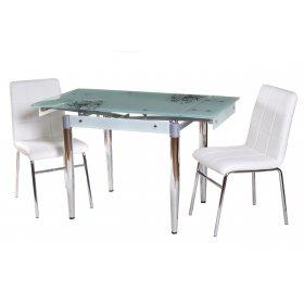 Комплект стол T-275 белый + 2 стула N-40 блестящий белый
