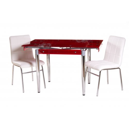 Комплект стол T-275 красный + 2 стула N-40  блестящий белый