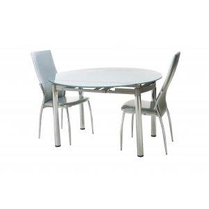Комплект стол T-282-2 серебряный + 2 стула N-20 серебряный