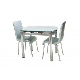 Комплект стол T-282 серебряный + 2 стула N-16 серебряный