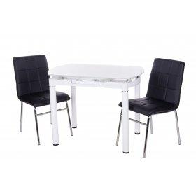 Комплект стол T-282 снежно-белый + 2 стула N-40 черный
