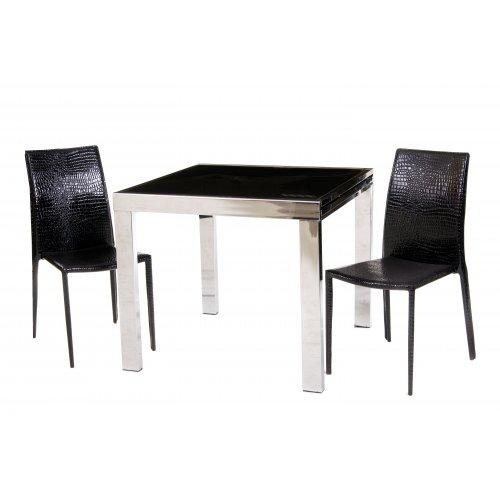 Комплект стол TC-100 черный + 2 стула NC-500 черный крокодил