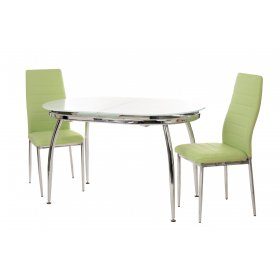 Комплект стол T-270 снежно-белый + 2 стула N-66 оливковый