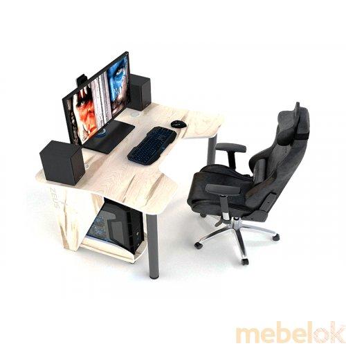 компьютерный стол с видом в обстановке (Стол геймерский игровой IGROK-3)
