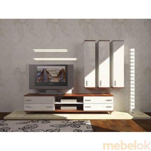 Зеркальное отображение - Белый гарнитур для гостиной Мода-1