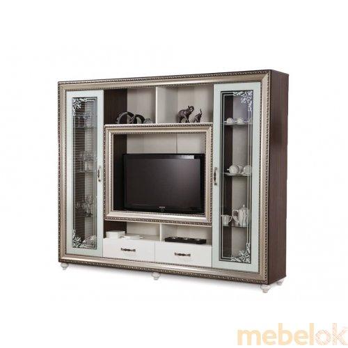 Зеркальное отображение - ТВ-витрина Элизабет белая