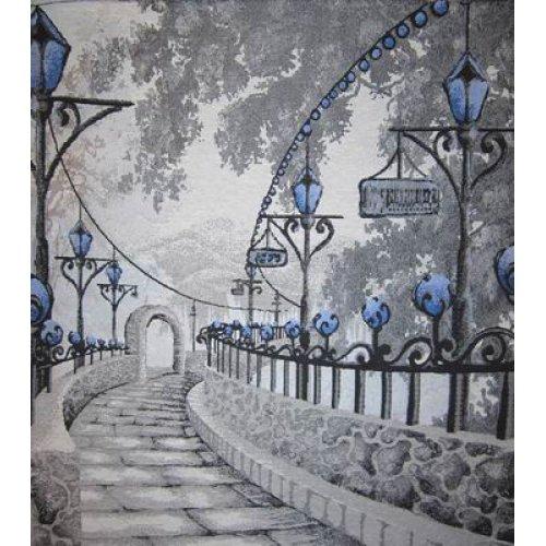 Ткань гобелен Аллея blue 5