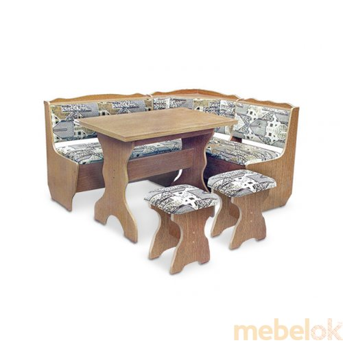 Зеркальное отображение - Кухонный уголок Фараон с раскладным столом и табуретами