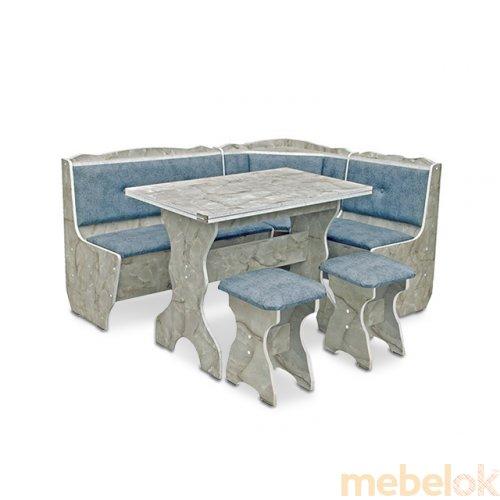 Зеркальное отображение - Кухонный уголок Президент с раскладным столом и табуретами
