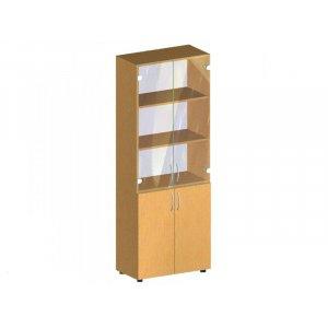 Стеллаж со стеклянными дверцами БЮ 407 70х34.7х182.5 см