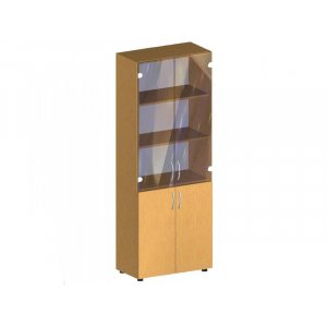 Стеллаж со стеклянными дверцами  БЮ 418 70х34.7х182.5 см