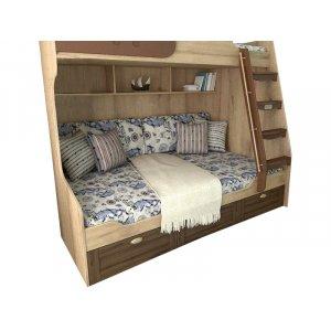 Двухъярусная кровать Океан с маленькой лестницей 90/120х190