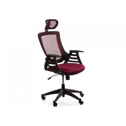 Кресло офисное Драго с подголовником (бордовое)