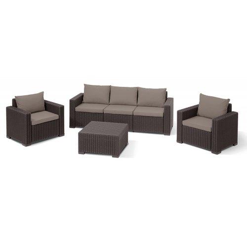 Комплект садовой мебели California 3 seater коричневый