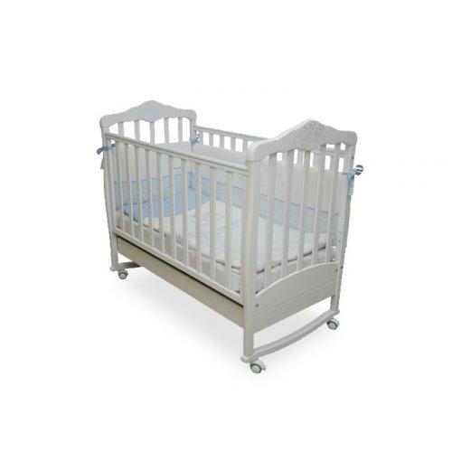 Детская кроватка белая Соня ЛД-11 Резьба Мишки